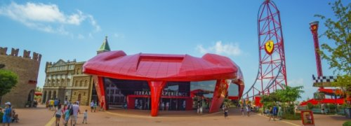 New Ferrari Land FRP Cladding Meets Euroclass Building Material Fire Specification using Crestapol<sup>®</sup> 1212