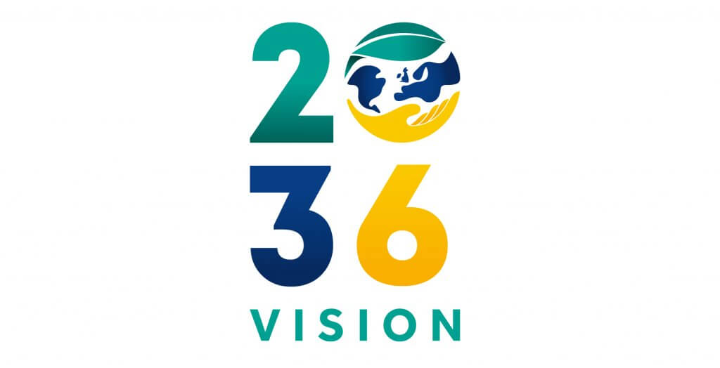 Our 2036 vision logo consisting of multi-coloured numbers and the use of the planet Earth as a zero.