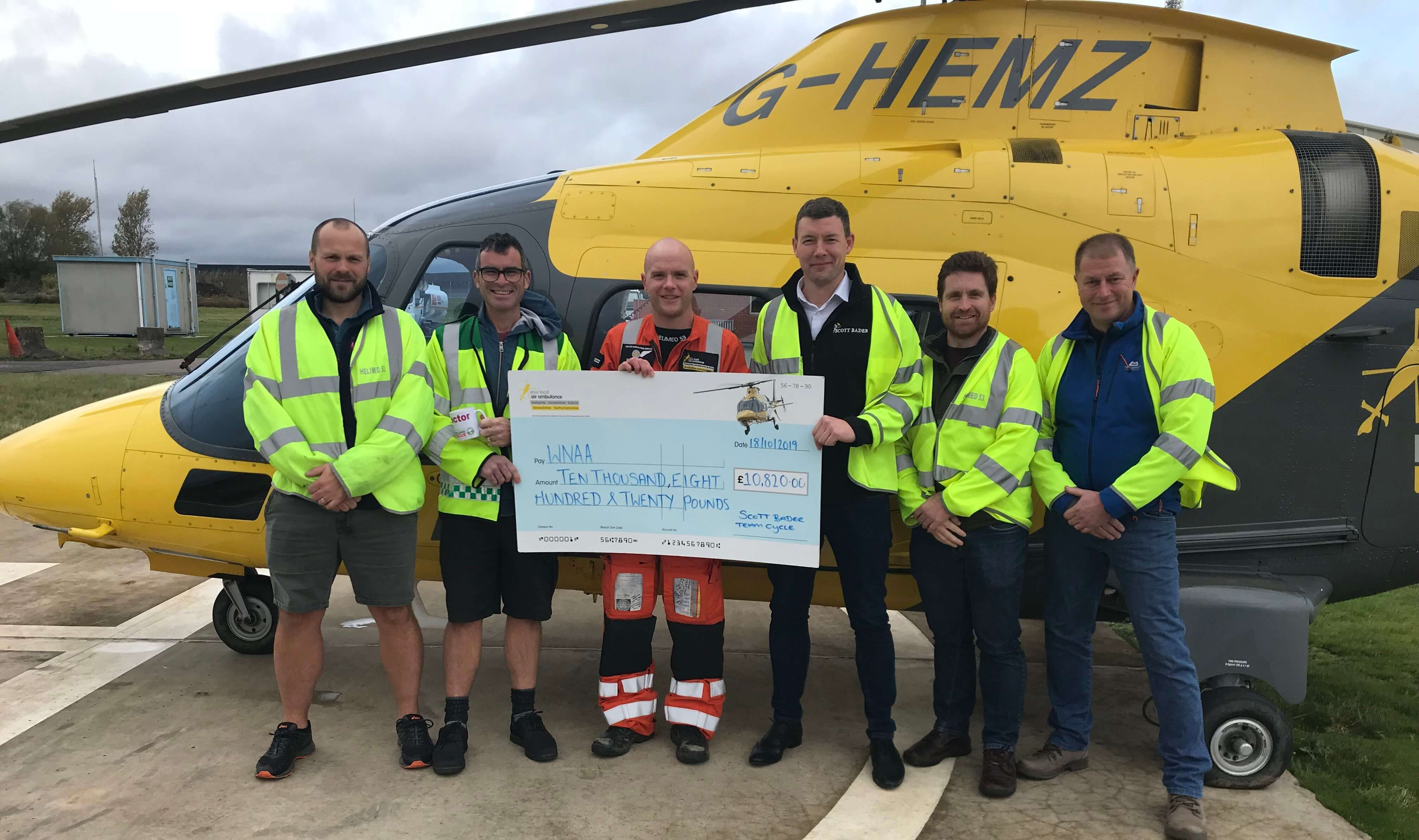 Scott Bader's Lands' End to John O'Groats cycle team raises over £10,000 for The Warwickshire & Northamptonshire Air Ambulance!