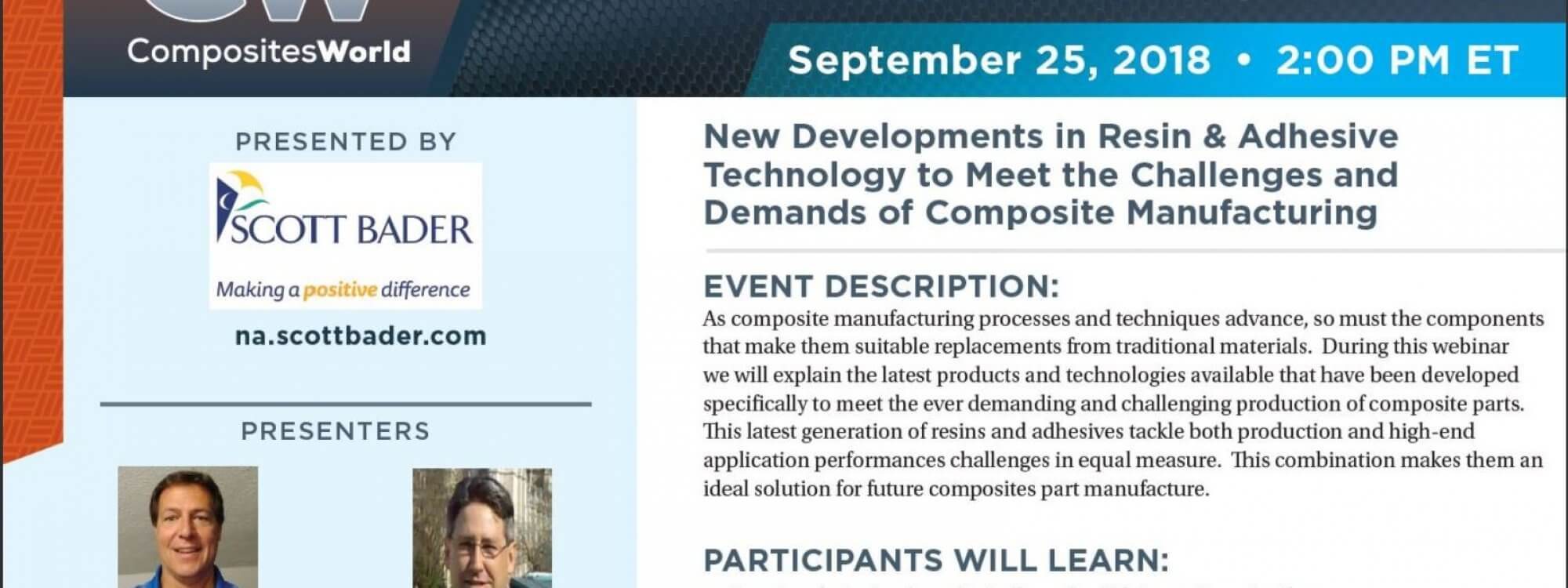 Scott Bader's Adhesive and Composite's Webinar – Recording Available