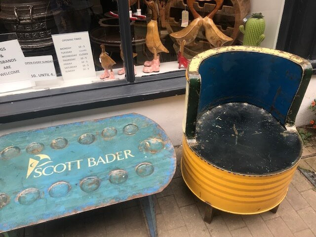 Recycled Scott Bader drums found in Yorkshire antique shop